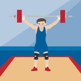 Historieta del vector del deporte atlético del levantamiento de pesas Imagenes de archivo