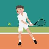 Historieta del vector del deporte atlético del tenis Foto de archivo libre de regalías
