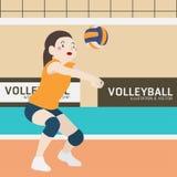 Historieta del vector del deporte atlético del voleibol Imagen de archivo libre de regalías