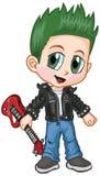 Historieta del vector del muchacho del eje de balancín punky del animado Foto de archivo libre de regalías