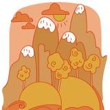 Historieta del vector del paisaje de la montaña Foto de archivo