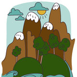 Historieta del vector del paisaje de la montaña Fotografía de archivo