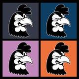 Historieta del vintage cuatro imágenes de la sonrisa y de guiñar el carácter retro del gallo en cuadrados coloridos Imagenes de archivo