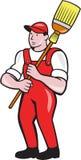 Historieta derecha de Cleaner Holding Broom del portero stock de ilustración