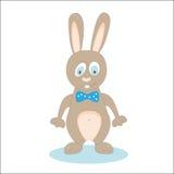 Historieta derecha del conejo en blanco llevar un arco Vector ilustración del vector