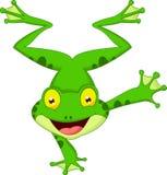 Historieta divertida de la rana que se coloca en su mano Imagenes de archivo