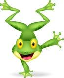 Historieta divertida de la rana que se coloca en su mano Fotos de archivo