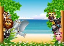 Historieta divertida de los animales stock de ilustración