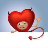 Historieta divertida del corazón de la tarjeta del día de San Valentín del diablo que sostiene la bandera Imagen de archivo libre de regalías