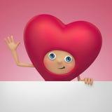 Historieta divertida del corazón de la tarjeta del día de San Valentín que sostiene la bandera Fotos de archivo