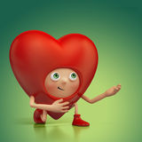 Historieta divertida del corazón de la tarjeta del día de San Valentín roposal Imágenes de archivo libres de regalías