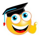 Historieta divertida del emoticon con el sombrero de la graduación ilustración del vector