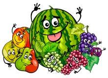 Historieta divertida del grupo de los caracteres de la fruta libre illustration