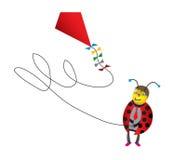 Historieta divertida del Ladybug con la cometa Imagenes de archivo