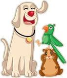 Historieta divertida del vector de las mascotas de la tienda de animales Imagenes de archivo
