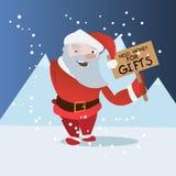 Historieta divertida Papá Noel con la placa en paisaje polar del invierno Imagen de archivo libre de regalías