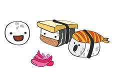 Historieta divertida que poco sushi comunica con cada uno Imagenes de archivo