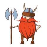 Historieta divertida vikingo con un hacha. Vector Imagen de archivo