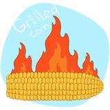 Historieta el maíz asado Vector el ejemplo del maíz de la barbacoa en un fondo del fuego Imágenes de archivo libres de regalías