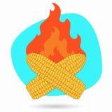 Historieta el maíz asado Vector el ejemplo del maíz de la barbacoa en un fondo del fuego Imagen de archivo