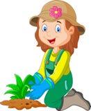 Historieta ella era plantas en el jardín Foto de archivo libre de regalías