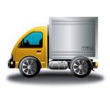 Historieta en línea de la tienda del camión de reparto amarillo Imagenes de archivo