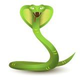 Historieta enojada de la cobra Serpiente verde ilustración del vector