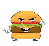 Historieta enojada de la hamburguesa Imágenes de archivo libres de regalías