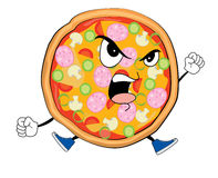 Historieta enojada de la pizza Fotografía de archivo libre de regalías