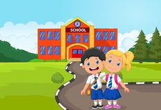 Historieta feliz de dos estudiantes que se coloca delante de la construcción de escuelas libre illustration
