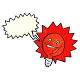 historieta feliz de la bombilla de rojo que destella con la burbuja del discurso Foto de archivo