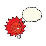 historieta feliz de la bombilla de rojo que destella con la burbuja del pensamiento Foto de archivo libre de regalías