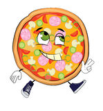 Historieta feliz de la pizza Fotos de archivo