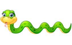 Historieta feliz de la serpiente verde stock de ilustración