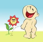 Historieta feliz del bebé y de la flor Fotografía de archivo libre de regalías