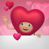 Historieta feliz del corazón de la tarjeta del día de San Valentín que sostiene la bandera en blanco Fotos de archivo