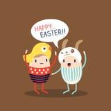 Historieta feliz del huevo de Pascua stock de ilustración