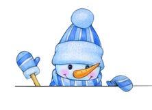 Historieta feliz del muñeco de nieve, ocultando por el espacio en blanco libre illustration