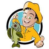 Historieta feliz del pescador libre illustration