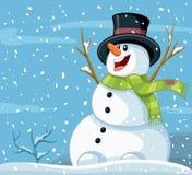 Historieta feliz del vector del invierno del muñeco de nieve Fotos de archivo