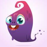 Historieta feliz rosada y carácter azul del monstruo de Halloween del vector del fantasma aislado Fotos de archivo