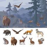 Historieta Forest Animals Set colorido Foto de archivo