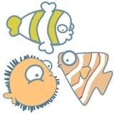Historieta gráfica linda del icono de los pescados de mar ilustración del vector