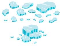 Historieta grande del sistema del iceberg Hielo e icebergs en el estilo plano isométrico 3d Sistema de diverso bloque de hielo Vi Foto de archivo libre de regalías