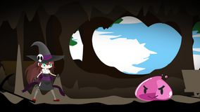Historieta inconsútil de la animación de un encanto mágico del trueno de la muchacha de la bruja del hechicero del bastidor lindo libre illustration