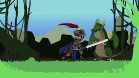 Historieta inconsútil de la animación de un guerrero del caballero que lucha y que reduce drásticamente un dragón con su gran esp ilustración del vector