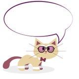 Historieta linda Cat Isolated On White Background ilustración del vector