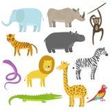 Historieta linda completamente animales tropicales y de la selva fijados ilustración del vector