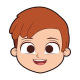 Historieta linda de la cara del muchacho ilustración del vector