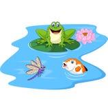 Historieta linda de la rana verde en un cojín de lirio Imagen de archivo